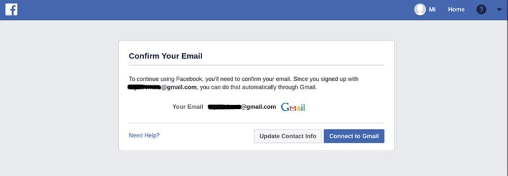 تأكيد حساب فيسبوك جديد تم إنشائه