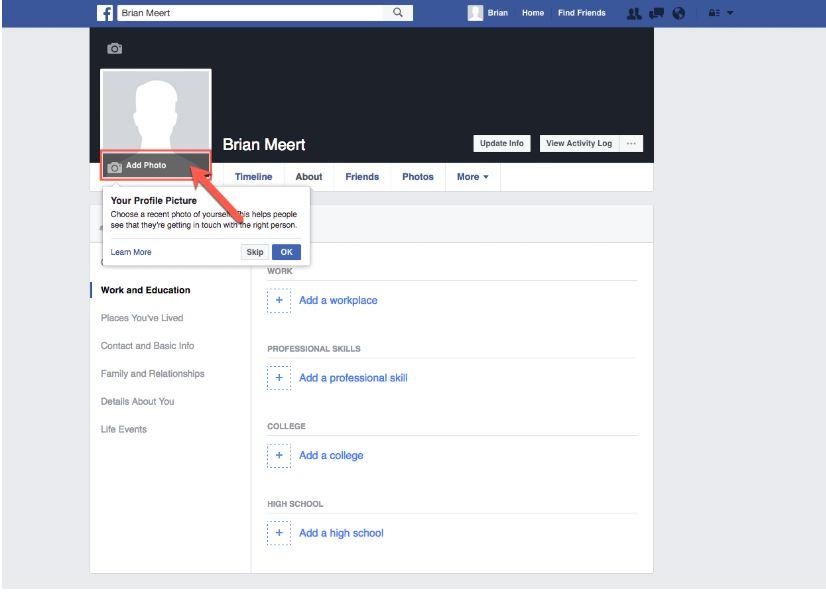 اضافة صورة الى حساب فيسبوك جديد