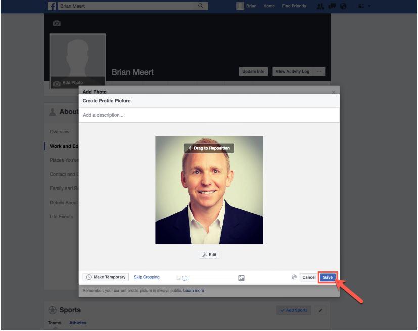حفض الصورة الشخصية للفيسبوك