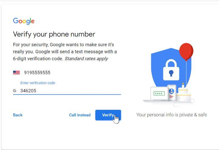 التحقق من رقم الهاتف في حساب جوجل