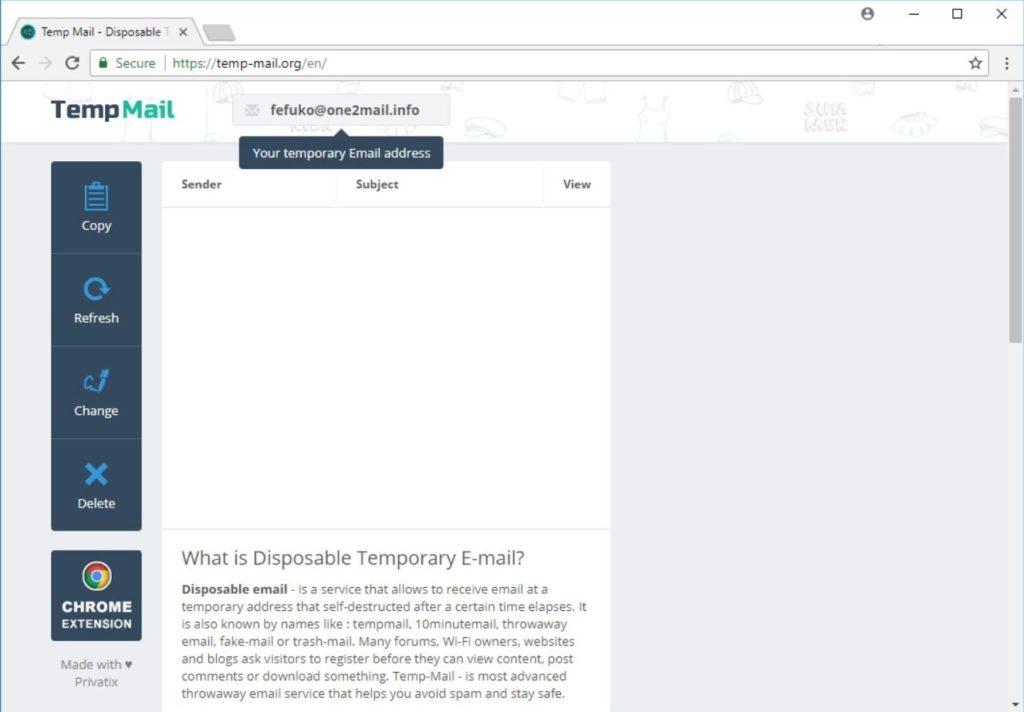 انشاء ايميل مؤقت على موقع Temp Mail