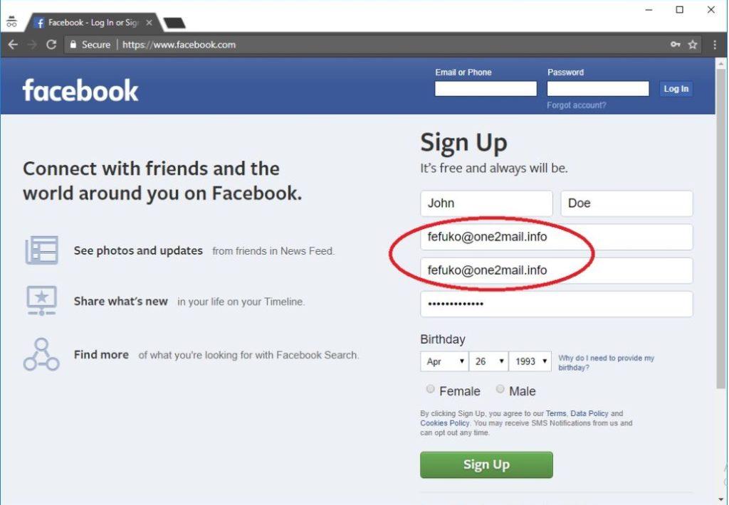 وضع الايميل المؤقت على حساب فيسبوك جديد