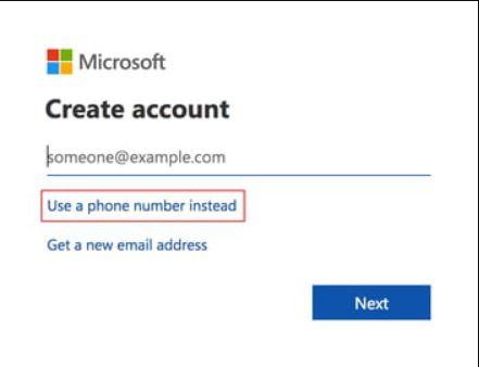 استعمال رقم الهاتف اثناء انشاء بريد الكتروني جديد